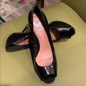 Vince Camuto black patent genuine leather heels.